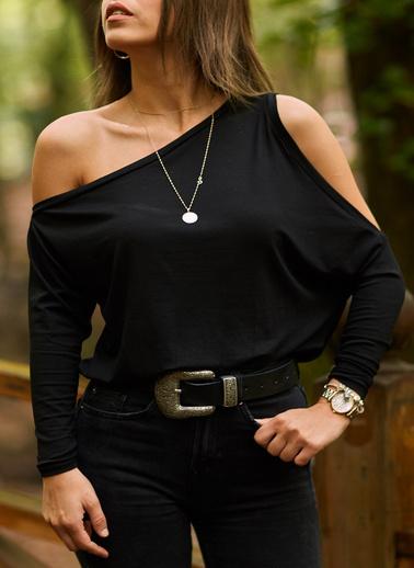 XHAN Omuz Detaylı Bluz  9Kxk2-41651-02 Siyah
